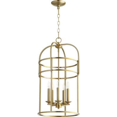 Toque Entry 5-Light Foyer Pendant Finish: Aged Brass