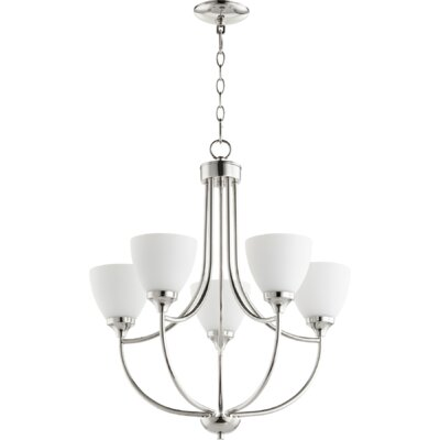 Enclave 5-Light Shaded Chandelier Finish: Polished Nickel
