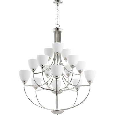 Enclave 15-Light Shaded Chandelier Finish: Polished Nickel