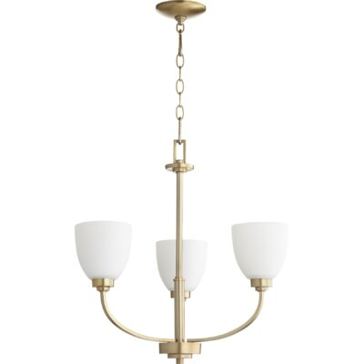 Reyes 3-Light Shaded Chandelier Finish: Aged Brass