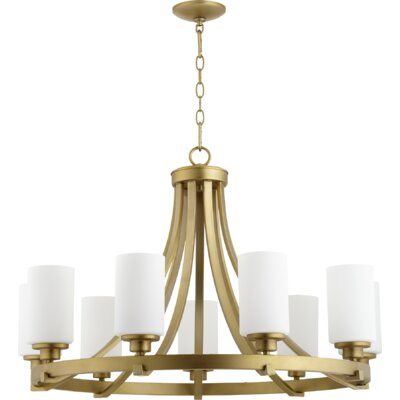 Lancaster 9-Light Shaded Chandelier Finish: Aged Brass