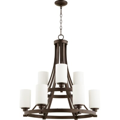 Lancaster 9-Light Shaded Chandelier Finish: Oiled Bronze