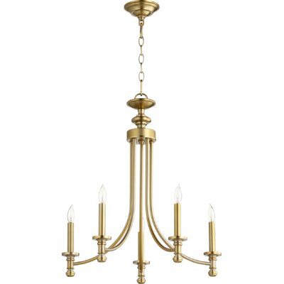 Rossington 5-Light Candle-Style Chandelier Finish: Aged Brass