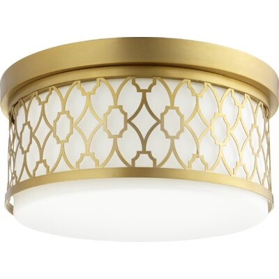 Geometric 3-Light Flush Mount Finish: Aged Brass