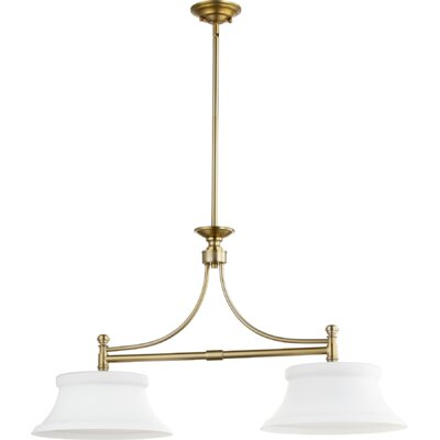 Rossington 2-Light Kitchen Island Pendant Finish: Aged Brass