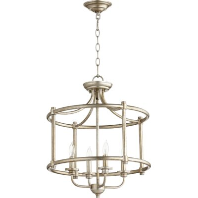 Rossington 4-Light Foyer Pendant Finish: Aged Silver Leaf