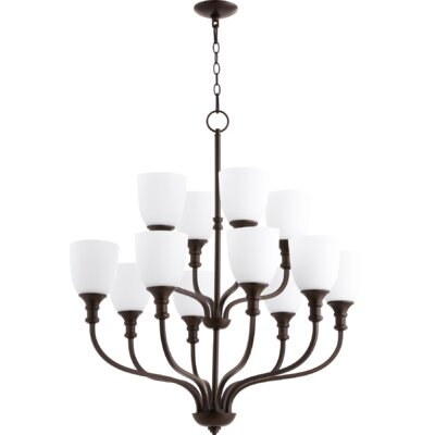 Richmond 12-Light Shaded Chandelier Finish: Oiled Bronze