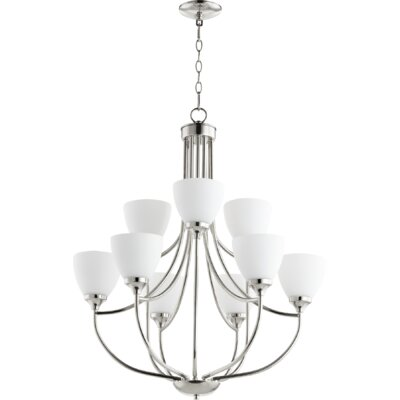 Enclave 9-Light Shaded Chandelier Finish: Polished Nickel