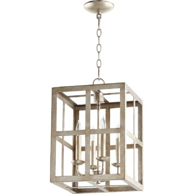 Cuboid II Entry 4-Light Foyer Pendant Finish: Aged Silver Leaf