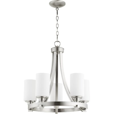 Lancaster 5-Light Shaded Chandelier Finish: Satin Nickel
