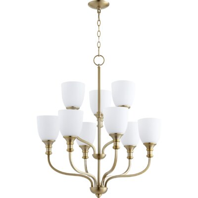 Richmond 9-Light Shaded Chandelier Finish: Aged Brass