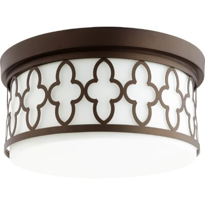 Quatrefoil 3-Light Flush Mount Finish: Oiled Bronze