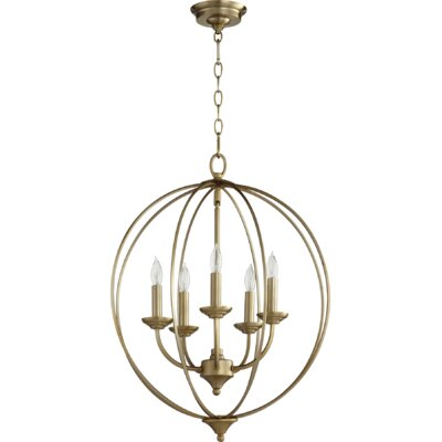 Flora Fall 5-Light Globe Pendant Finish: Aged Brass