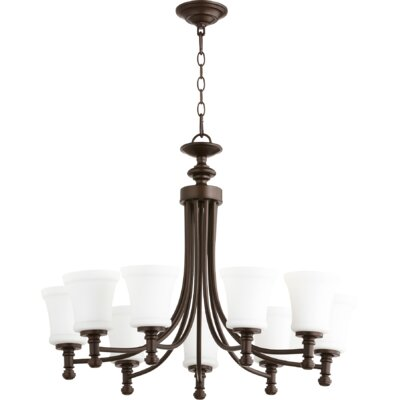 Rossington 9-Light Shaded Chandelier Finish: Oiled Bronze