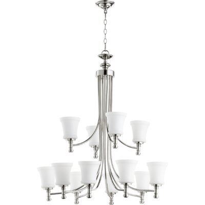 Rossington 12-Light Shaded Chandelier Finish: Polished Nickel