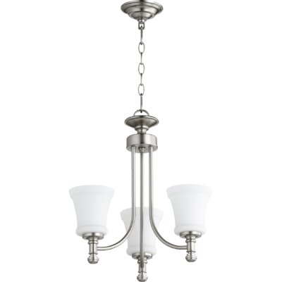 Rossington 3-Light Shaded Chandelier Finish: Satin Nickel