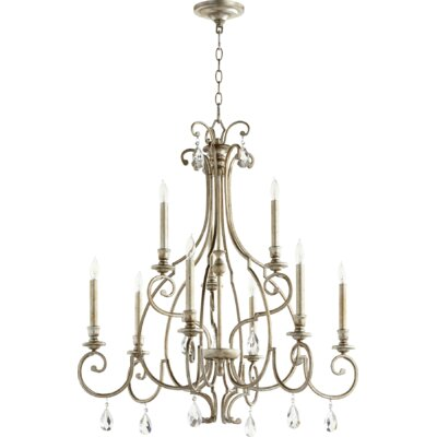 Ansley 9-Light Candle-Style Chandelier Finish: Aged Silver Leaf