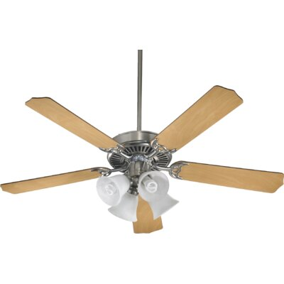 52 Staffordshire 5-Blade Ceiling Fan Finish: Satin Nickel w/ Maple, Bulb Type: Fluorescent
