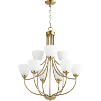 Enclave 9-Light Shaded Chandelier Finish: Aged Brass