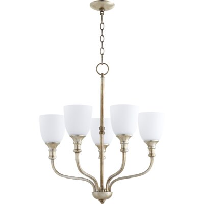 Richmond 5-Light Shaded Chandelier Finish: Aged Silver Leaf