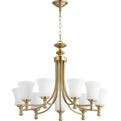 Rossington 9-Light Shaded Chandelier Finish: Aged Brass
