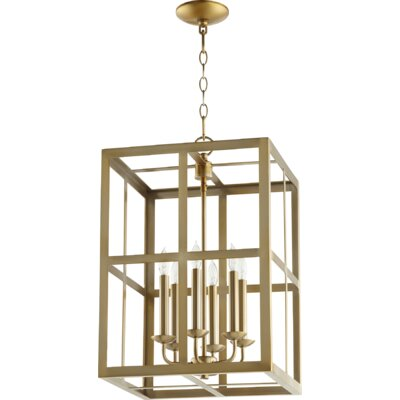 Cuboid II Entry 6-Light Foyer Pendant Finish: Aged Brass