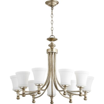 Rossington 9-Light Shaded Chandelier Finish: Aged Silver Leaf