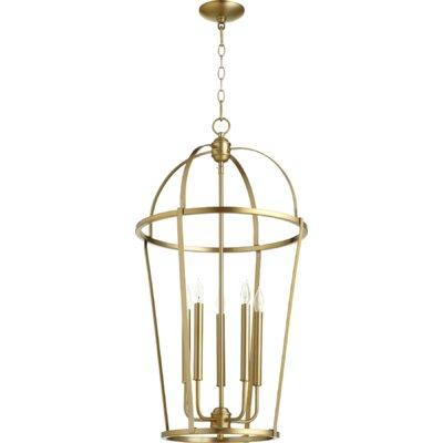 Mitre Entry 5-Light Foyer Pendant Finish: Aged Brass