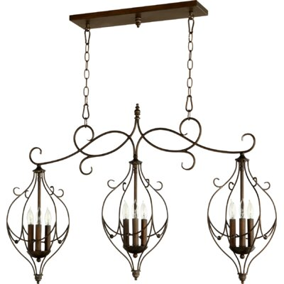 Ariel 9-Light Kitchen Island Pendant Finish: Vintage Copper