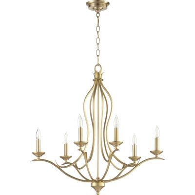 Flora Fall 6-Light Candle-Style Chandelier Finish: Aged Brass