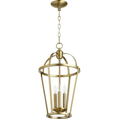Mitre Entry 3-Light Foyer Pendant Finish: Aged Brass
