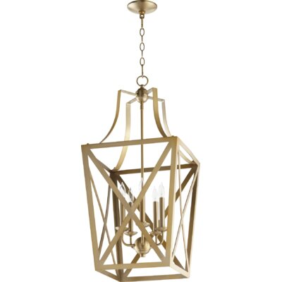 Trap Entry 5-Light Foyer Pendant Finish: Aged Brass