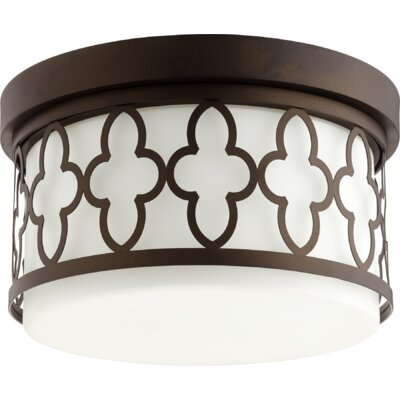 Quatrefoil 2-Light Flush Mount Finish: Oiled Bronze
