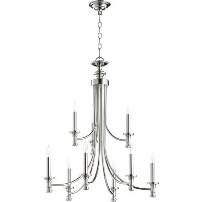 Rossington 9-Light Candle-Style Chandelier Finish: Polished Nickel