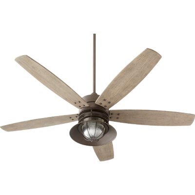 60 Portico 5 Blade Ceiling Fan Finish: Oiled Bronze with Weathered Oak Blades