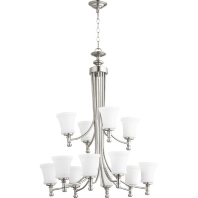 Rossington 12-Light Shaded Chandelier Finish: Satin Nickel