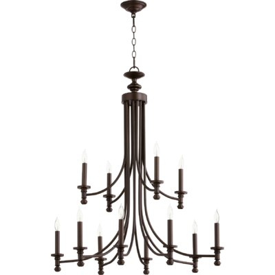 Rossington 12-Light Candle-Style Chandelier Finish: Oiled Bronze