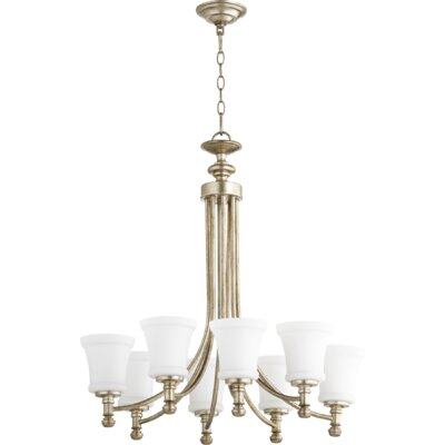 Rossington 8-Light Shaded Chandelier Finish: Aged Silver Leaf