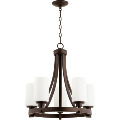 Lancaster 5-Light Shaded Chandelier Finish: Oiled Bronze
