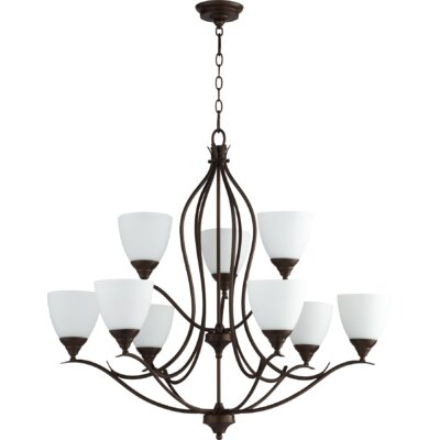 Flora Fall 9-Light Shaded Chandelier Finish: Oiled Bronze