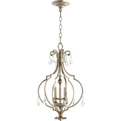 Ansley Entry 3-Light Foyer Pendant Finish: Aged Silver Leaf