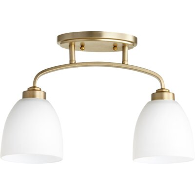 Reyes 2-Light Semi Flush Mount Finish: Aged Brass