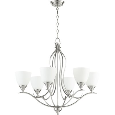 Flora Fall 6-Light Shaded Chandelier Finish: Satin Nickel