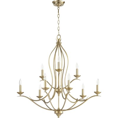 Flora Fall 9-Light Candle-Style Chandelier Finish: Aged Brass