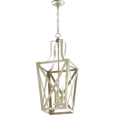 Trap Entry 3-Light Foyer Pendant Finish: Aged Silver Leaf