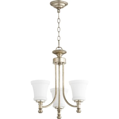 Rossington 3-Light Shaded Chandelier Finish: Aged Silver Leaf