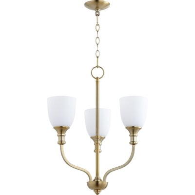 Falbo 3-Light Candle-Style Chandelier Finish: Aged Brass, Shade Color: White