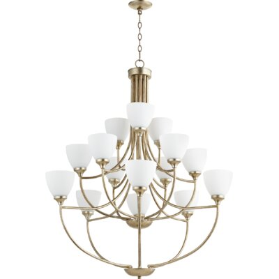 Enclave 15-Light Shaded Chandelier Finish: Aged Silver Leaf