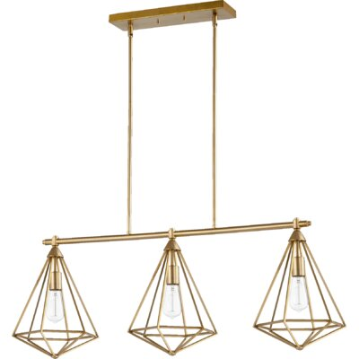 Bennett 3-Light Kitchen Island Pendant Finish: Aged brass
