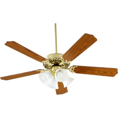 52 Staffordshire 5-Blade Ceiling Fan Finish: Polished Brass, Bulb Type: Fluorescent